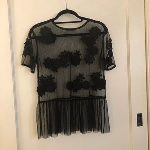 ASOS black mesh sheer blouse with embroidery